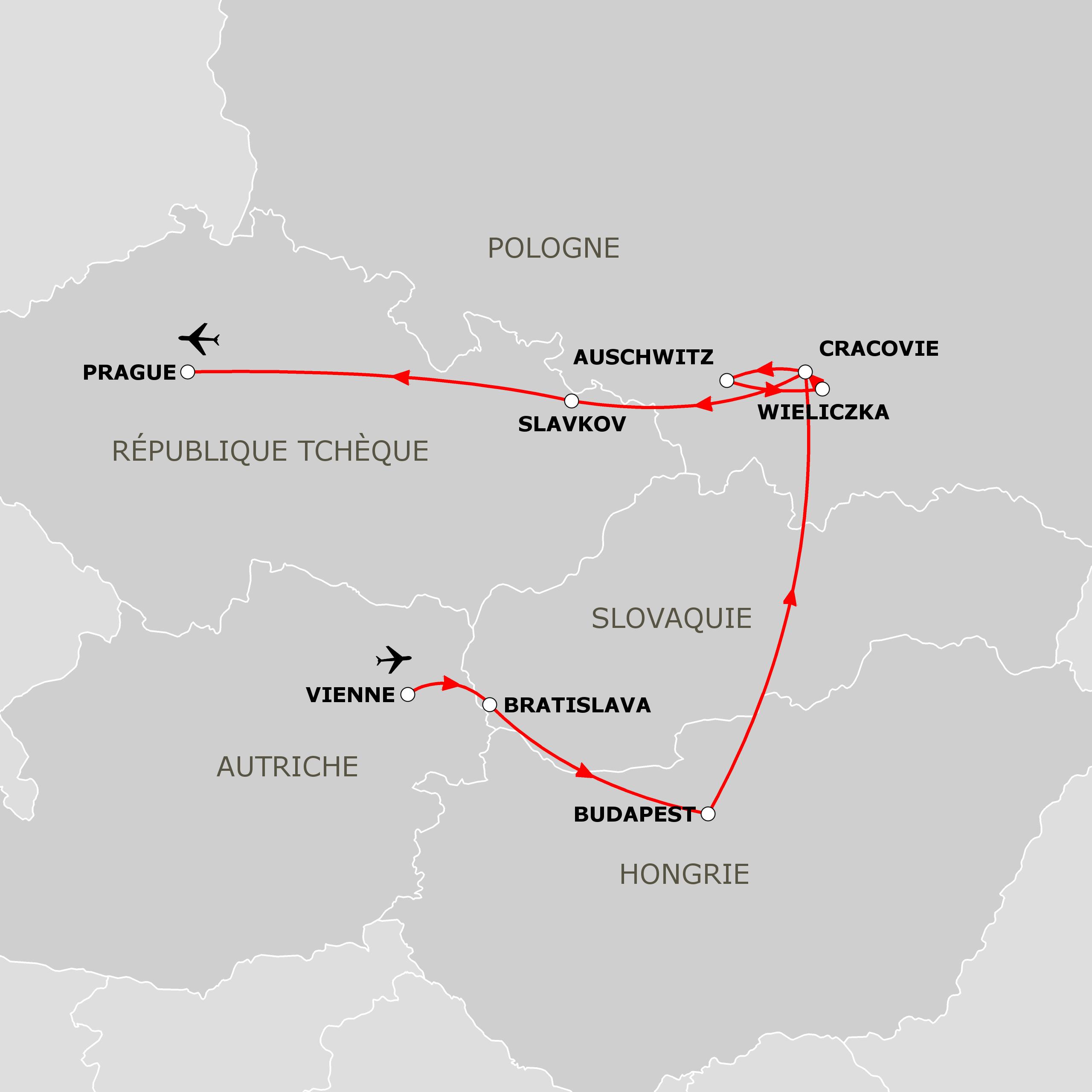 Carte Europe Vienne Prague Budapest.Voyage Organise Vienne Budapest Cracovie Et Prague
